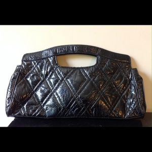 Lulu Black Patent Leather Diamond Clutch Purse
