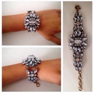 Chic Crystal Floral Statement Cuff Bracelet