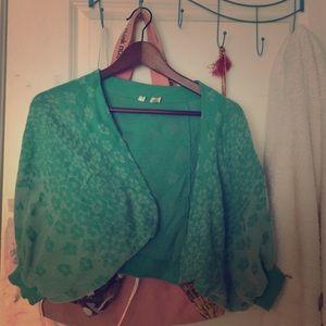 Turquoise cardigan w/ leopard print