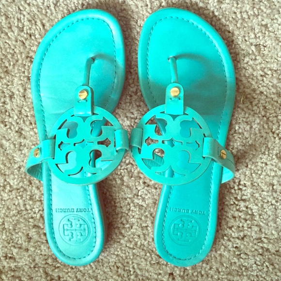 c27426b99d739 Tory Burch Miller Sandals Turquoise Size 7.5. M 5592f35a93615368fa00168f