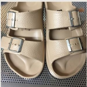 Betula Birkenstocks cream plastic sandals