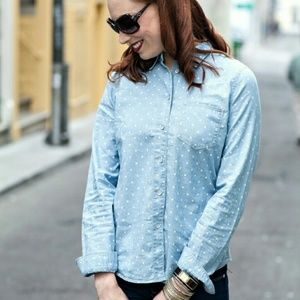 Madewell Tops - Polka Dot Chambray Shirt