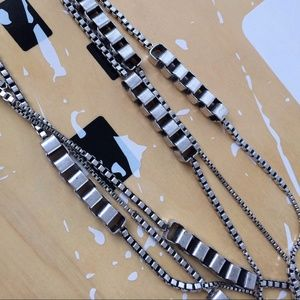 Triple strand cube link necklace