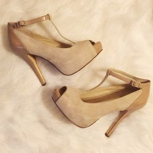 INC International Concepts Shoes - INC Nude Suede T-Strap Heels