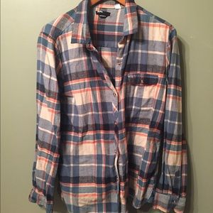 Orange & Blue Plaid Button Up
