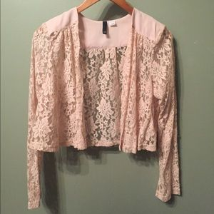 Lace Pastel Pink Blazer