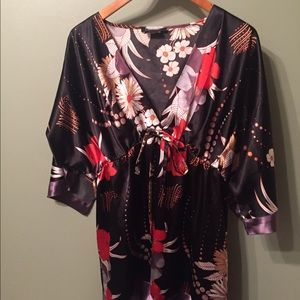 Black Floral Kimono Silk Tunic/Dress