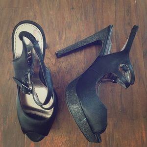 Nina Ricci Shoes - Black strappy heels with glitter heels