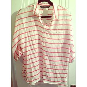 Zara red and white striped billowy blouse