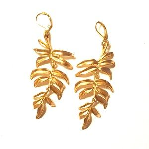 Gold palm leaf earrings