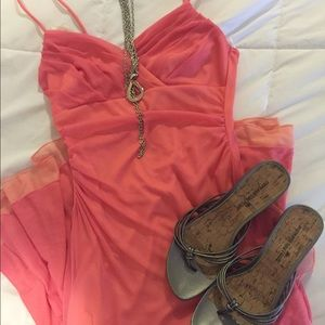 Coral/pink and peach sundress