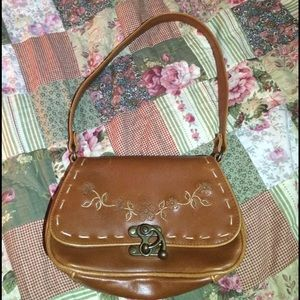 Handbags - Floral stitched brown purse with cool latch
