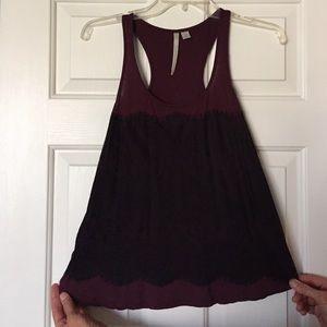Lauren Conrad maroon top with black lace