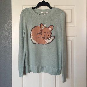 Light turquoise fox sweater.
