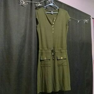 Army green dress (with pockets!!!)