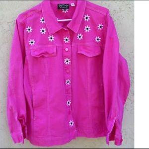 Bob Mackie Jackets & Blazers - Bob Mackie Wearable Art Pink Daisy Jacket New