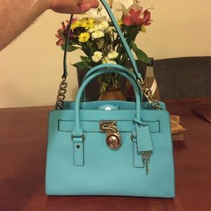 6c1e78d504d Michael Kors Bags | Authentic Mk Hamilton Aquamarine Ew Satchel ...