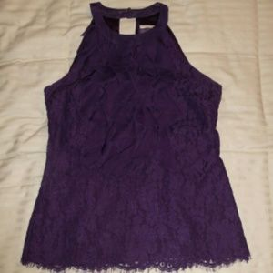 ECI Tops - Purple lace ruffle blouse