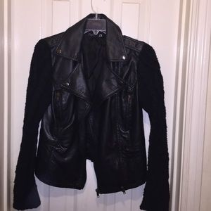 Leather and sweater biker Jacket