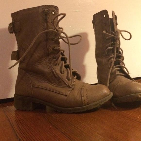 Light brown combat boots