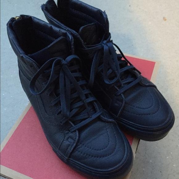 vans sk8 hi navy leather