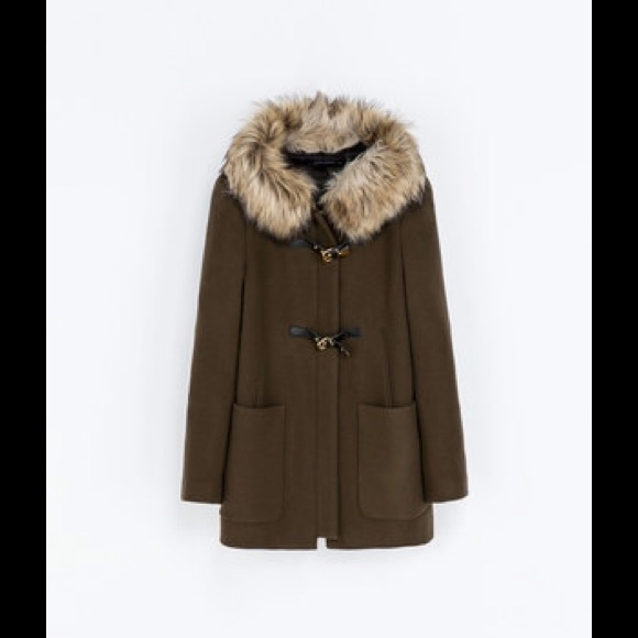 Zara - Zara Khaki Duffle Coat with Fur Trimmed Hood from Jenny's ...