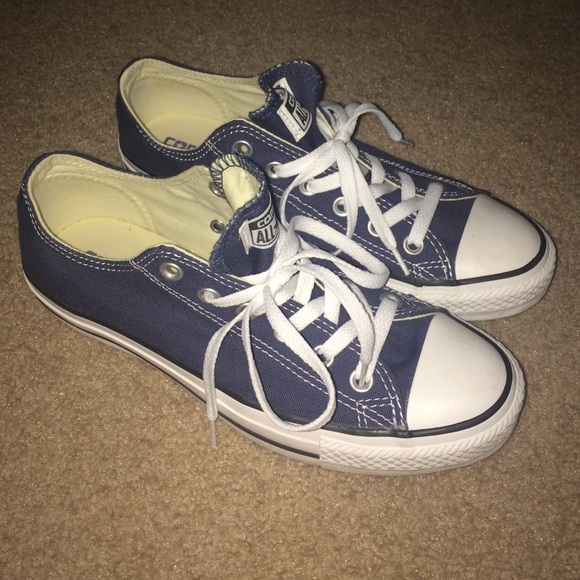 2229dd8a5a75b0 Converse Shoes - WORN ONCE navy blue low top converse!