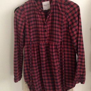 H&m red plaid top