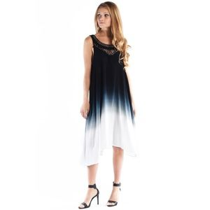 """Eclipse"" Ombré Crochet Collared Tank Dress"