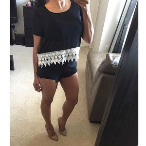 Tops - Black semi crochet crop top