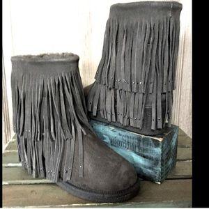 7 koolaburra shoes koolaburra gray fringe wedge