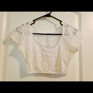 White lace Fredrick's of Hollywood crop top