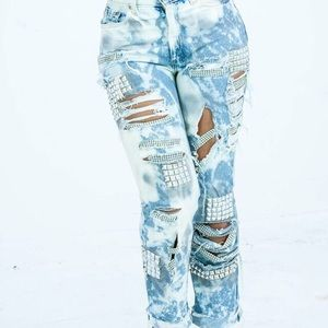 Levi distressed crystal studded jeans