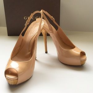 Gucci Nude Patent Platform Woven Heels 38