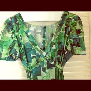 VINTAGE Green 1970s Maxi Dress