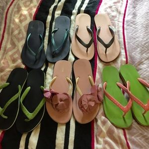 Bundle of 5 pairs J.Crew flip flops fit sz 8-8.5