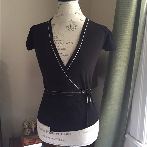 84% off LOFT Sweaters - Black LOFT short sleeve wrap sweater from ...