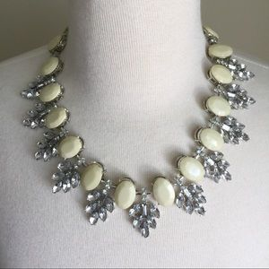 White bib statement necklace