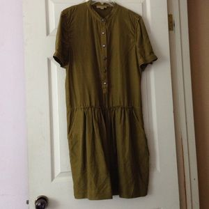 Burberry Brit Olive Silk Button Down Dress!