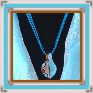  NWOT: BLUE & BROWN MURANO PENDANT 