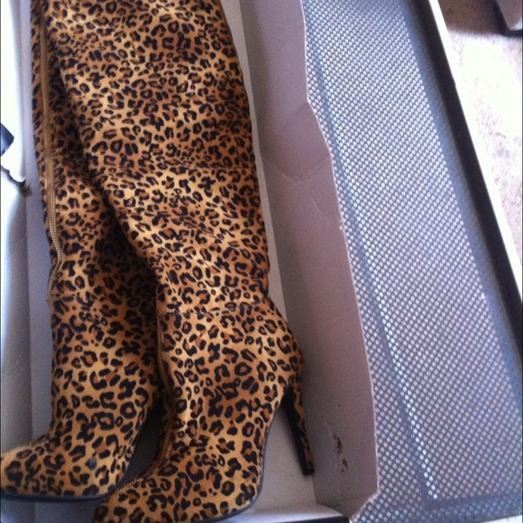 35% off JustFab Boots - Thigh high leopard print boots from ...