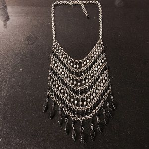 Silver and black bib necklace