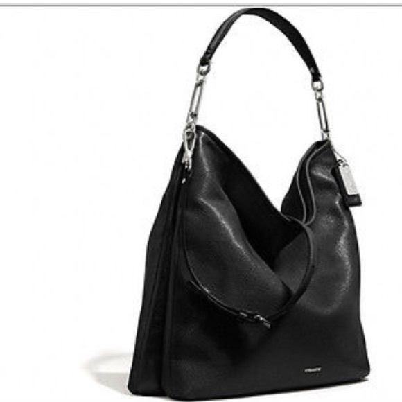85% off Coach Handbags - Black Madison Leather Hobo with silver ...