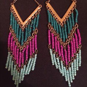 Accessories - Teal & Magenta bead earrings - boho style