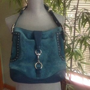 Coach Turquoise Suede & Leather Shoulder Bag