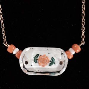 Vintage orange rose necklace