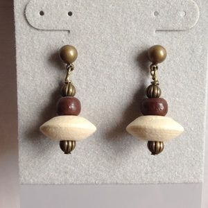 "Brass and wood bead earrings 1"" drop"