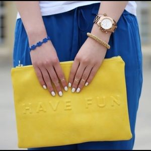 ZARA Yellow Have Fun Non Stop Summer Pouch Clutch