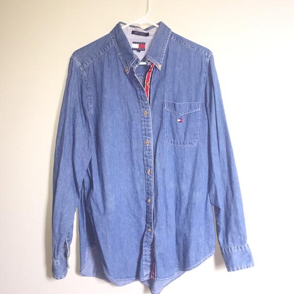 Oversized Fit Denim Shirt L - Sales Up to -50% Tommy Hilfiger Big Sale eiS34KUn