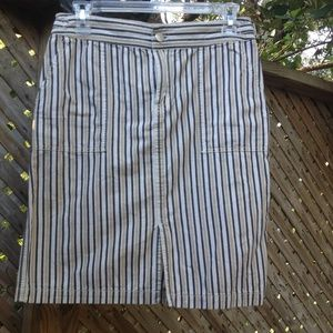 J. Crew Striped Denim Skirt